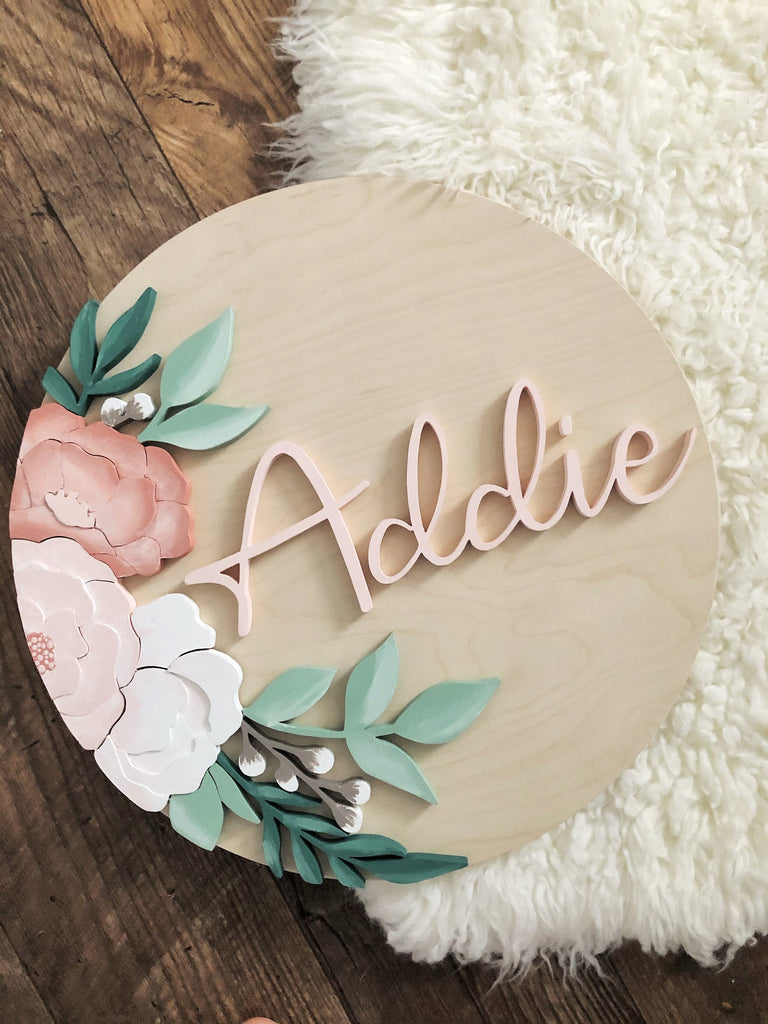 Custom baby name sign for nursery with vintage, bohemian style flowers.