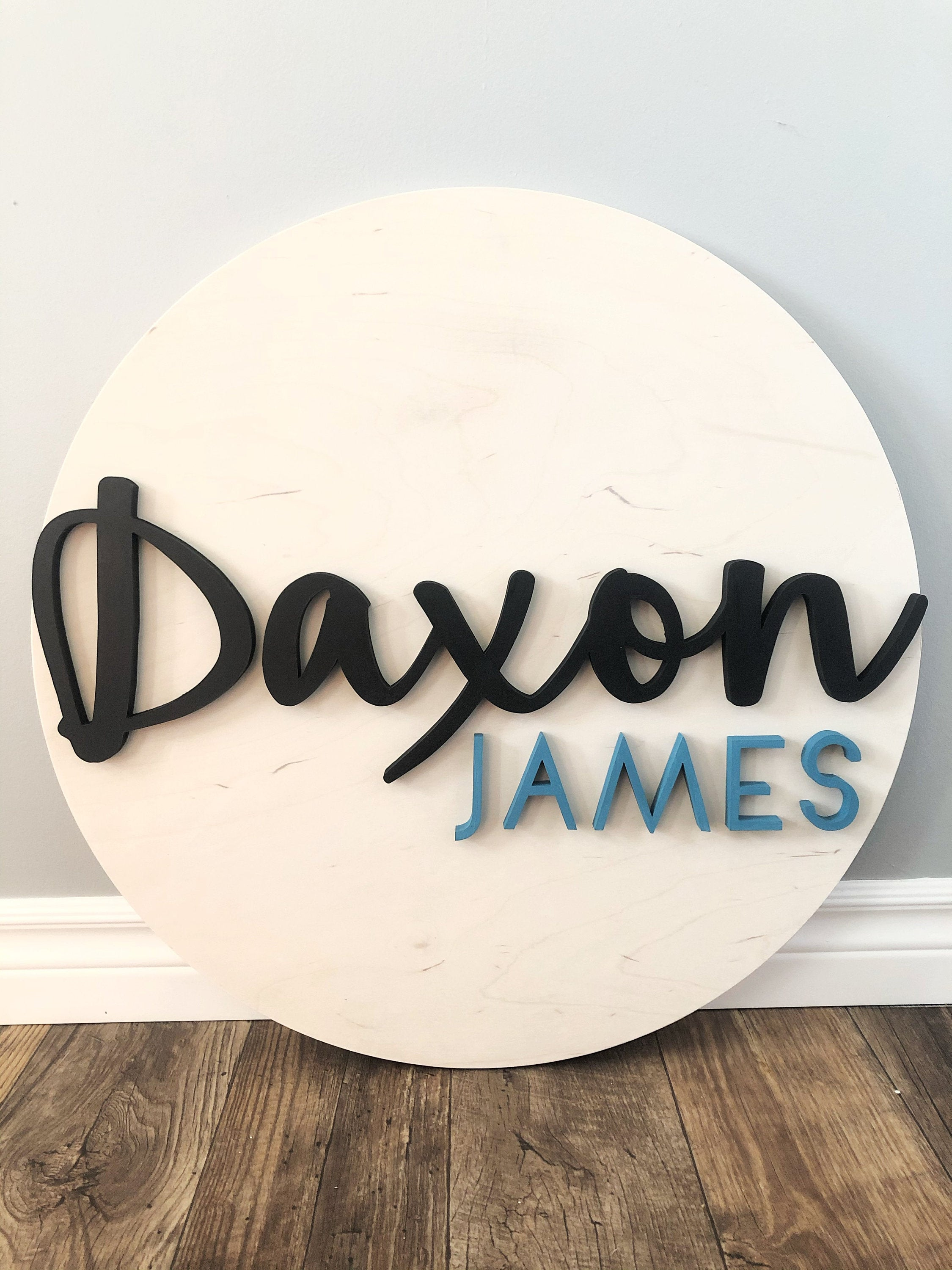 Custom nursery wall art, minimalist baby name sign with 3d cutout letters