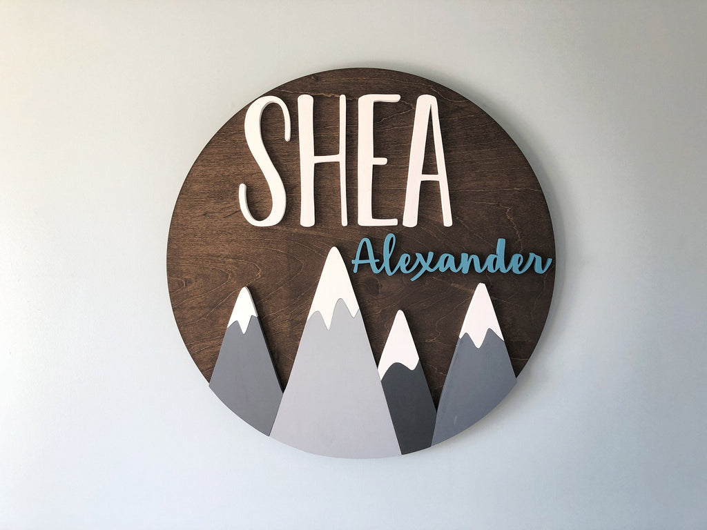 Custom baby name sign for nursery with mountains, woodland theme nursery