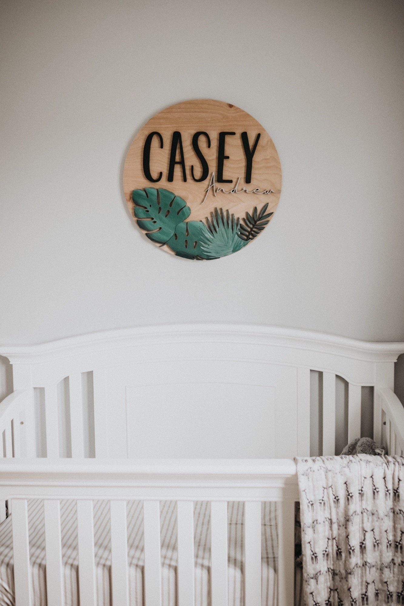 Custom baby name sign for nursery, with foliage, modern jungle theme
