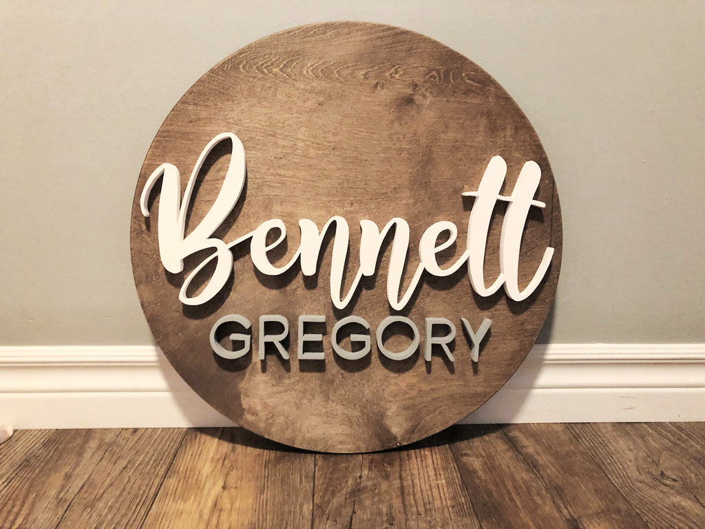 Modern nursery wall art, minimalist baby name sign with 3d cutout letters