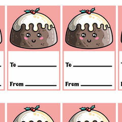 Picture of a grid of printable gift tags of a kawaii cute Christmas pudding above two lines with to and from