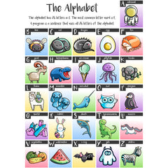 Each letter of the alphabet illustrated with a kawaii cute picture