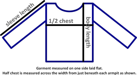 Drawing of a sweatshirt laid flat shape with lines indicating where to measure sleeve length (straight from where joins shoulder to end), half chest (straight across from just beneath each armpit) and body length (highest point at edge of head hole to bottom of garment)
