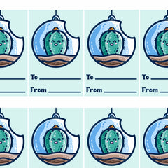 Picture of a grid of printable gift tags of a kawaii cute cactus in a bauble terrarium above two lines for to and from