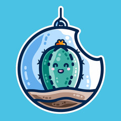 A kawaii cute happy green cactus succulent planted in a transparent hanging bauble terrarium on a turquoise background