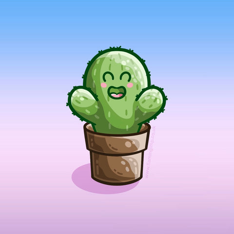 Drawing of a kawaii cute happy green cactus in a brown plant pot