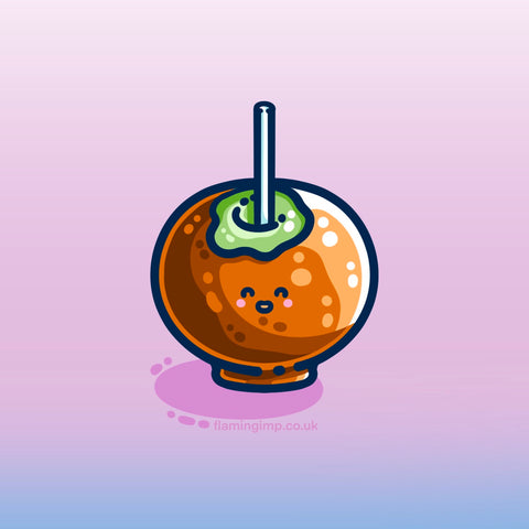 Digital drawing of a green apple pierced by a white stick and covered in brown caramel with a kawaii cute smily face