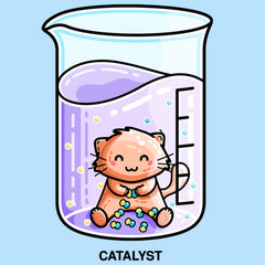 Cute cat in a beaker bonding atoms into molecules