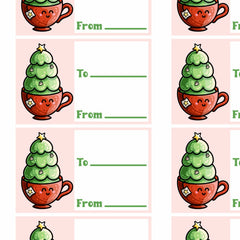 Picture of a grid of printable gift tags of a kawaii cute cup of tea with a Christmas tree planted in it next to two lines for to and from