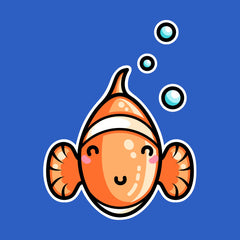 Cute clownfish head on with bubbles