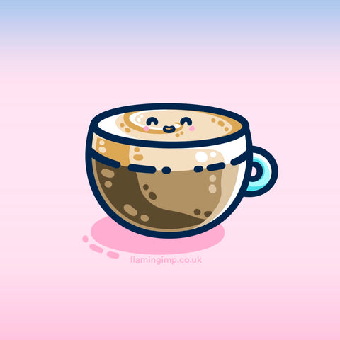 A digital drawing of a glass cup containing a creamy latte with a thick layer of cream on the top and a cute smile on that cream