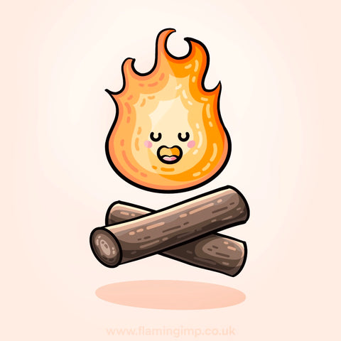 Kawaii cute fire above two crossed logs