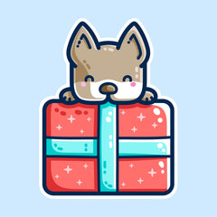 A red present with blue ribbon with a dog's head and front paws visible lying over the top of it. Kawaii cute style with dark blue outlines.