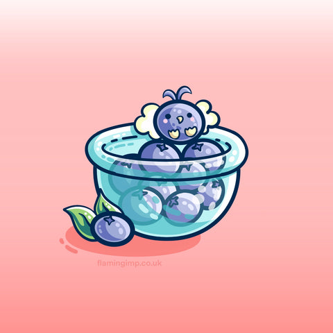 A digital drawing of a glass bowl of blueberries with a little kawaii cute winged blueberry creature on the top