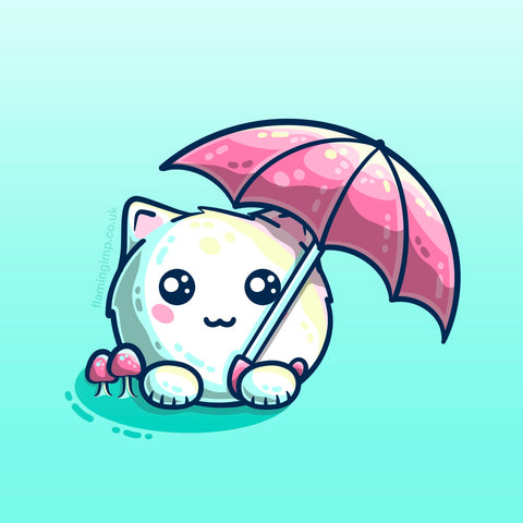 Drawing of a cute white fluffy cat and pink umbrella