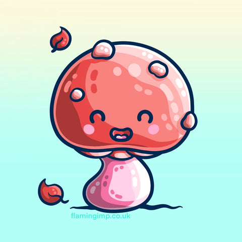 Digital drawing of a pink and red mushroom or toadstool with spots and some autumn leaves falling around it