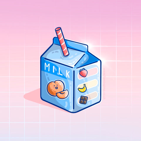 A drawing of a blue carton of peach milk with a stripy straw