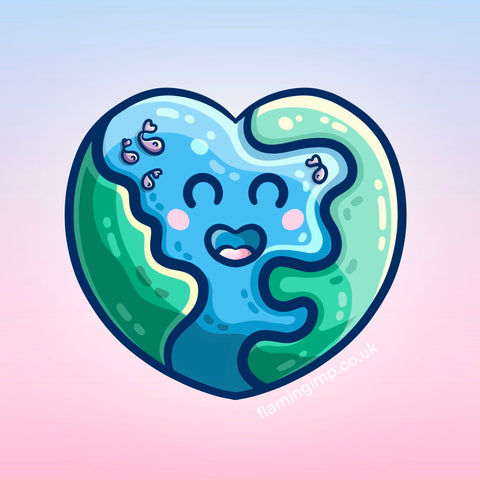 Drawing of a heart shaped Earth in a kawaii cute style