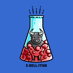 A boiling flask of red liquid with a kawaii cute bull inside and written beneath is e-bull-ition