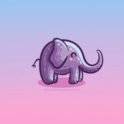 Kawaii cute purple elephant drawing