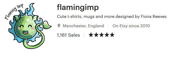 Screenshot showing that Flaming Imp is 5 star rated at Etsy