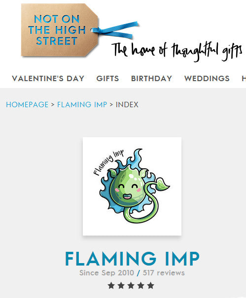 Screen shot showing that Flaming Imp is 5 star rated at notonthehighstreet.com