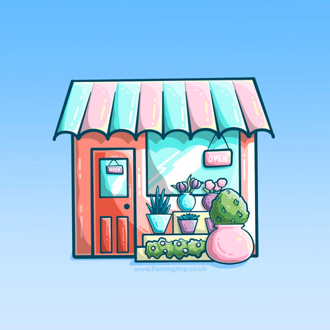 A colourful drawing of a flower shop with awning and pots of flowers