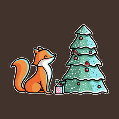 Cute fox with Christmas tree and presents