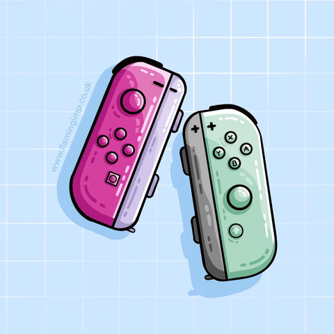 One pink and one green video game controller drawing