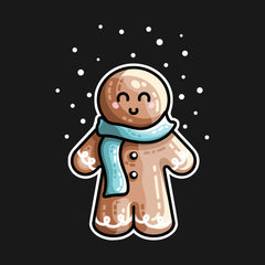 A cute gingerbread person wearing a blue scarf in the snow