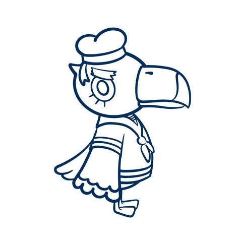 Picture of a line drawing of Gulliver from Animal Crossing