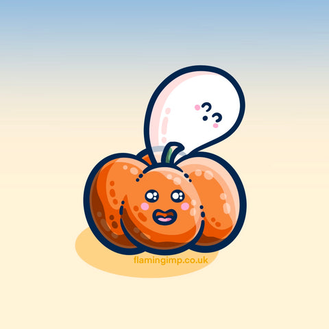 Digital drawing of a kawaii cute orange pumpkin with a green stalk and a kawaii cute white ghost emerging from the top and looming over it