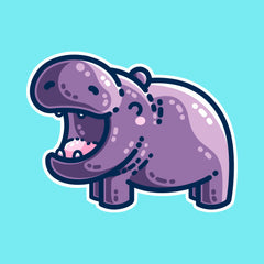 A kawaii cute purple hippo seen side on facing to the left, with its mouth open wide in a big smile, looking very happy.