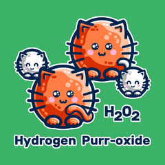 Digital drawing of a hydrogen peroxide molecule turning the atoms into round cats. Two white kittens for peroxide and two large orange cats for oxygen, on an green background. Text says H202 Hydrogen Purr-oxide