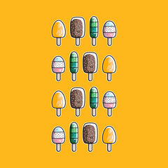 Colourful ice lollies