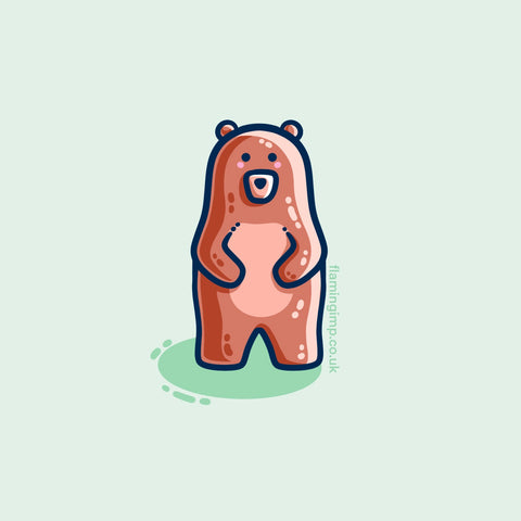 Kawaii cute brown bear standing upright, with a green background.