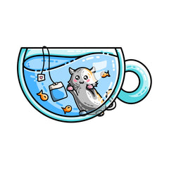 Cute kitten watching fish in a teacup