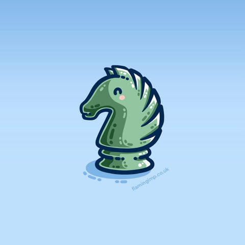 A cute knight chess piece coloured green and facing to the left on a blue background