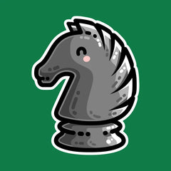 A black knight chess piece facing to the left in a kawaii cute style with thick lines and pink cheek blush