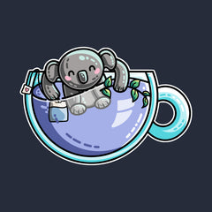 Koala bear in a teacup with a tea bag