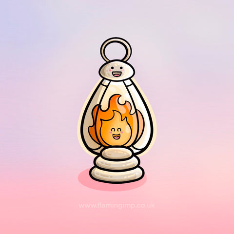 Kawaii cute flame in a lantern