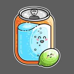 Kawaii cute lime and a can of soda