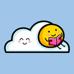 Cute sun sitting on a cloud reading a book