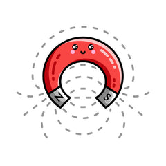 A kawaii cute red horseshoe magnet with magnetic field lines.
