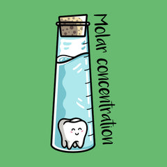 Flask of liquid containing a molar tooth and the words molar concentration
