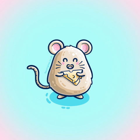 Kawaii cute drawing of a mouse holding some cheese
