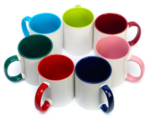 Arrangement of mugs in different colours