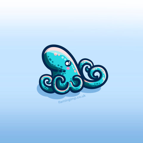 A kawaii cute turquoise octopus facing to the right
