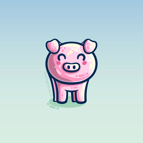 Kawaii cute drawing of a pig
